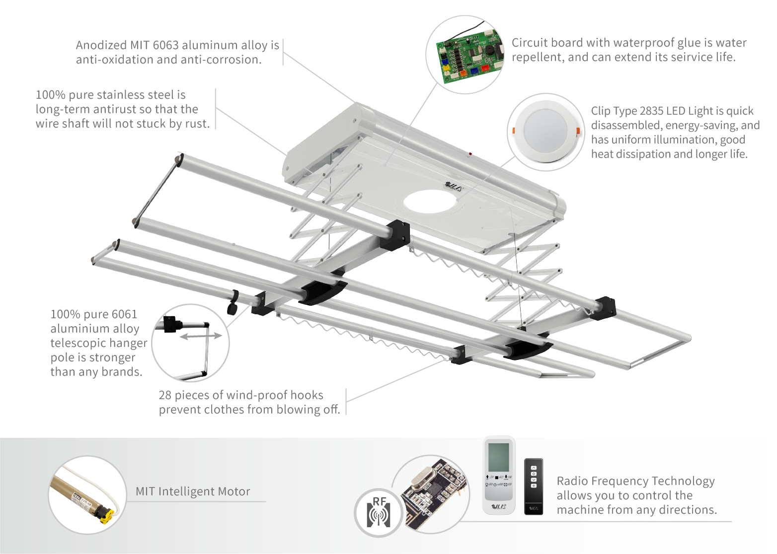 Components of Remote Control Clothes Hanger CH-70
