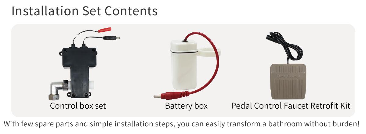 Pedal Control Faucet Retrofit Kit Installation Set Contents